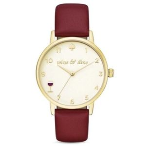 Kate Spade Metro Wine & Dine leather watch NWT